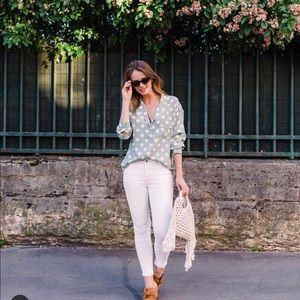 Pastel green polka dots shirt